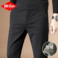 Lee Cooper新款秋冬男士休闲直筒加绒加厚保暖长裤小脚修身男裤