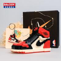 aj积木鞋小颗粒篮球鞋模型成人情侣礼物男女孩子儿童益智拼装玩具