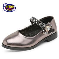 16.5cm~23cm巴布豆女童鞋 女童皮鞋2017秋季新款女童公主鞋黑色皮鞋学生皮鞋