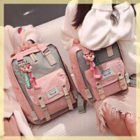 书包女中学生初中生2020新款韩版校园百搭帆布学院风甜甜圈双肩包