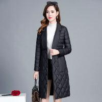 轻薄棉外套女冬羽绒冬季女士棉衣中长款时尚修身棉袄 黑色