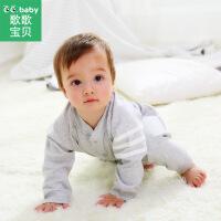 歌歌宝贝 新款婴儿连体衣外出服宝宝长袖哈衣爬服新生儿开裆婴幼儿秋冬服装