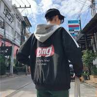 新品2018春季新款男士连帽夹克学生休闲帽衫印花外套韩版修身潮流
