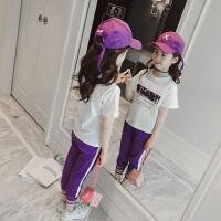 女童运动套装夏装2018新款儿童韩版潮衣中大童洋气短袖时髦两件套