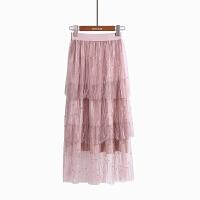 时尚半身长裙春装新款网纱钉珠裙气质百褶飘逸唯美蓬蓬仙女裙 均码