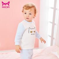 猫人宝宝内衣套装儿童秋衣秋裤男女童空气棉内衣套装一件