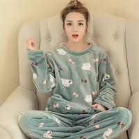 慈姑秋冬季韩版珊瑚绒睡衣女式可爱卡通休闲套头法兰绒长袖套装家居服