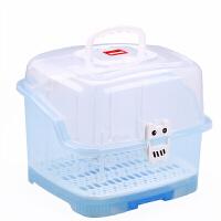 婴儿奶瓶收纳箱大号便携式带盖沥水晾干架宝宝奶粉储存盒N11 送五