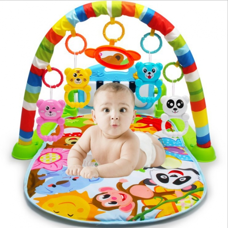 婴儿健身架器脚踏钢琴儿童音乐游戏毯宝宝玩具0-1岁3-6-12个月OEM 彩虹色