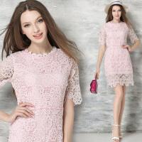 春夏女装名媛绣花夏天中袖镂空粉色蕾丝连衣裙子修身包臀