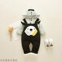 冬季秋冬装1-3岁男宝宝衣服婴儿棉衣女童套装2加绒加厚背带裤两件套装秋冬新款