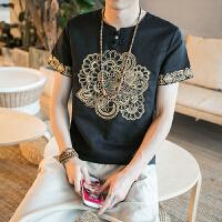 中国风男装夏天刺绣大码胖子棉麻上衣男复古民族风亚麻料短袖T恤
