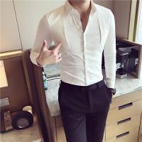 秋季新款发型师衬衣男纯色修身靓仔薄款个性白衬衫潮男士长袖韩版