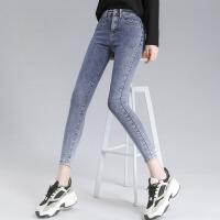高腰牛仔裤女小脚春2021年新款修身显瘦显高紧身铅笔裤