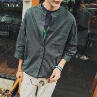 夏季小清新七分袖衬衫男士韩版修身纯色上衣青年亚麻衬衣潮流男装
