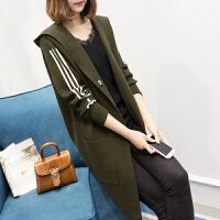 中长款连帽针织衫女式大衣冬季韩版显瘦加厚开衫毛衣新款春季外套