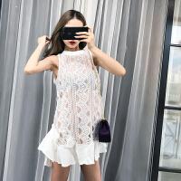 夏装新款性感女神镂空荷叶边无袖蓬蓬背心裙A字蕾丝连衣裙