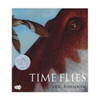 英文原版 Time Flies 无字书 激发想象力 会飞的时间 时光飞逝 1995年凯迪克银奖 大开本平装 埃里克・罗
