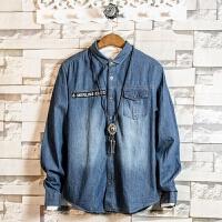 牛仔衬衫男修身薄款2018春季新款字母贴条大码衬衣青年休闲外套潮