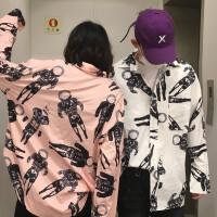 韩国INS同款复古太空人满印花长袖衬衫 18ss男女款