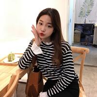 春装女装韩版学院风木耳边拼接喇叭长袖T恤女学生显瘦条纹打底衫