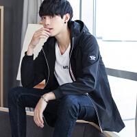 新款2018秋装新品男士风衣修身韩版中长款青少年学生薄款连帽外套