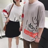情侣装夏装新款港风潮流字母笑脸单边袖撞色圆领短袖T恤韩半袖衫