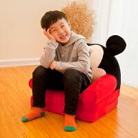 儿童折叠小沙发凳子卡通男孩阅读角懒人靠背座椅可爱女孩公主宝宝 黑色 米奇(折叠款)