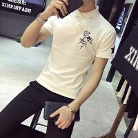 春夏季型男韩版修身绣花polo衫英伦休闲百搭小清新短袖T恤潮