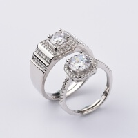-情侣戒指现代时尚简约开口男女婚礼对戒活口镶石镀白金戒指