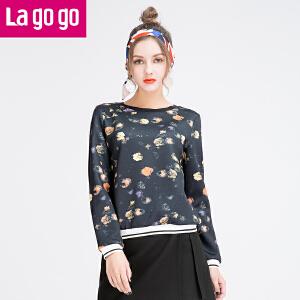 Lagogo/拉谷谷2016年春季新款圆领印花休闲螺纹上衣