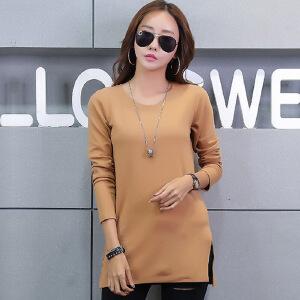 中长款t恤女秋冬季女装韩版上衣纯色长袖T恤女棉质长款打底衫