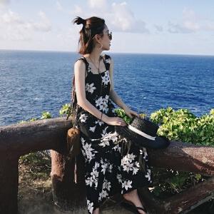 哆哆何伊碎花吊带连衣裙女2017夏新款中长款韩版宽松沙滩长裙复古露背裙子