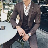 新款西服套装韩版修身男士小西装职业白领上班西装礼服三件套大码
