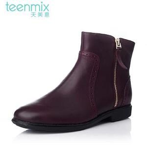 Teenmix/天美意 专柜同款酒打蜡牛皮女皮靴6D441DD5