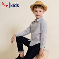 红蜻蜓儿童2018秋季新款男童衬衫小童中大童春秋棉质长袖衬衣韩版