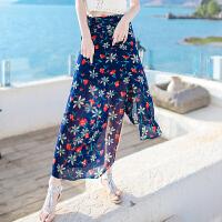 夏季新品女装修身不规则雪纺半身裙长裙波西米亚海边度假沙滩裙子 图片色 XZA260