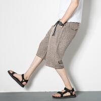 夏季亚麻七分裤男短裤阔腿裤男士宽松直筒哈伦裤沙滩裤中裤休闲裤