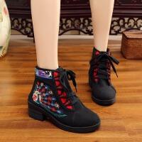 中国风(雀舞生平)秋款新品橡胶厚底优雅坡跟女系带绣花靴子