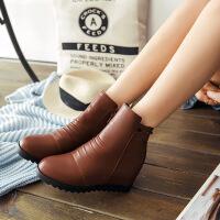 彼艾2017新款秋冬平马丁靴女短靴底坡跟大小码内增高女鞋女靴子