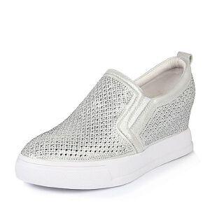 Belle/百丽春季专柜同款时尚休闲布纹牛皮女单鞋Q2T1DAM6女乐福鞋