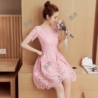 蕾丝连衣裙2018夏装新款女装修身收腰显瘦中长款短袖红色韩版裙子