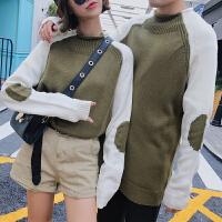 新款情侣秋冬文艺男女韩版时尚个性撞色圆领套头插肩袖毛衣针织衫