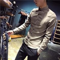 新款秋季男士长袖衬衫韩版小码发型师潮衬衣160矮个子S码修身气