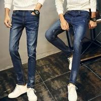新款2018男士裤子夏季男士牛仔裤青少年学生长裤破洞休闲男裤潮流