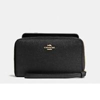 【当当自营】蔻驰(COACH)简约款时尚女士十字纹皮革卡包手腕包钱包女 F58053
