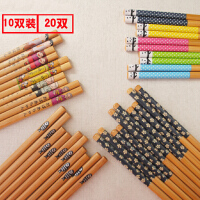10双家庭装竹筷子家用天然套装筷子日式竹子可爱尖头