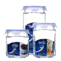 Glasslock 玻璃保鲜罐密封罐盖杂粮储物收纳茶叶罐IG534奶粉瓶玻璃糖罐三件套