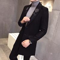 地平线男装 潮 冬 绣花时尚中长款修身毛呢大衣 风衣 英伦外套