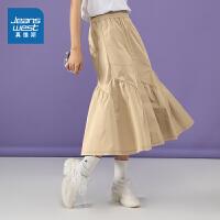 真维斯女装 夏季新款 时尚碎褶裙摆半截裙